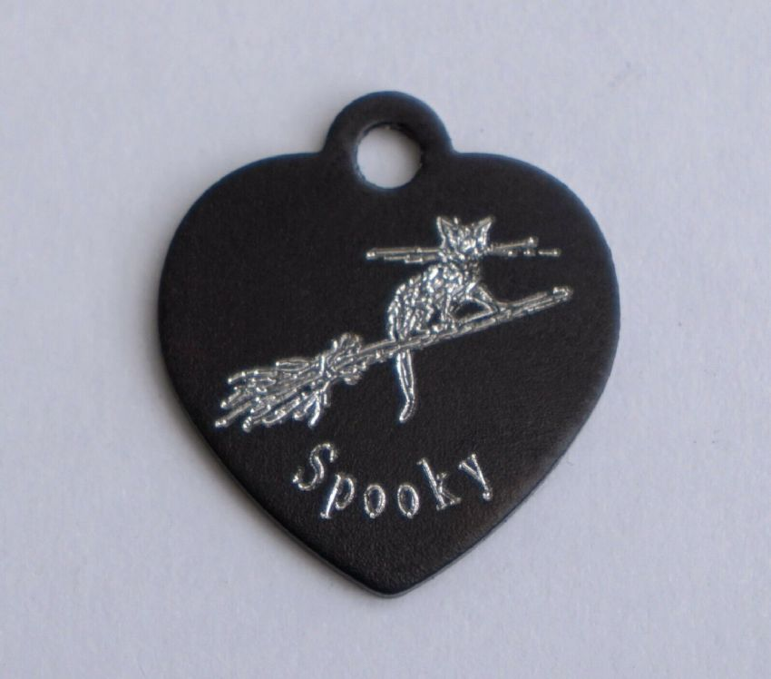 HEART SHAPE PERSONALISED BLACK CAT ID TAG WITH CAT ON WITCHES BROOMSTICK